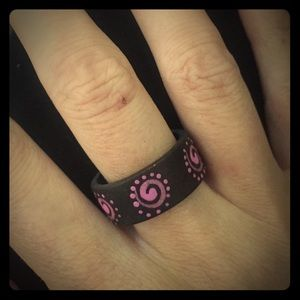 Gorgeous goddess spiral wood painted ring
